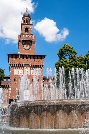 sforzesco: Milan city, Sforza Castle and fountain