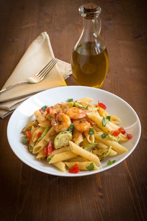 Penne with zucchini and shrimps