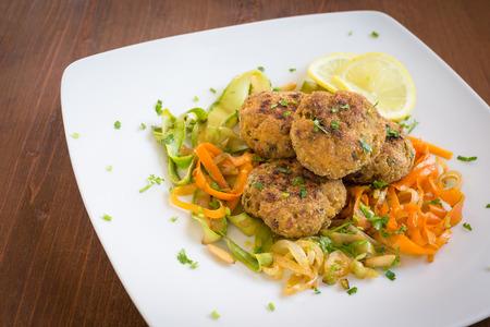 garnish: Beef meatballs with vegetable garnish