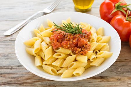 ragout: Penne with ragout sauce, Italian Pasta Stock Photo