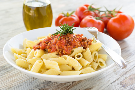 ragout: Penne with ragout sauce Italian Pasta Stock Photo