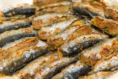 breaded: Stuffed and breaded sardines, closeup