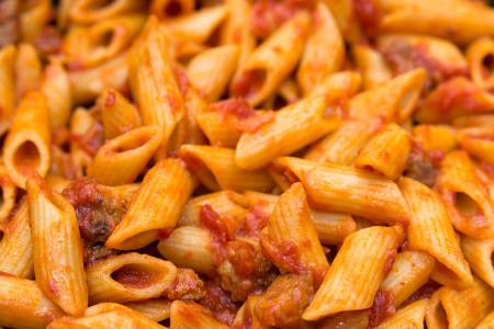 ragout: Penne with ragout closeup Stock Photo