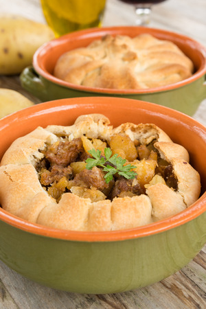 and savory: Panada, savory pie filled with meat and potato, Sardinian Food Stock Photo