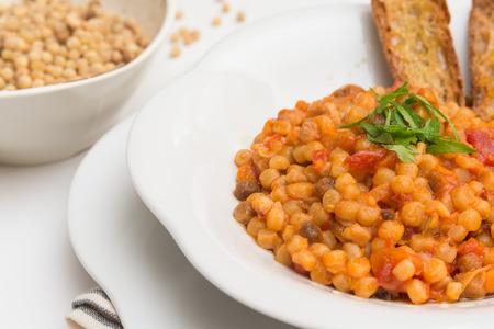 Rutting with tomato sauce, Sardinian Pasta Stok Fotoğraf