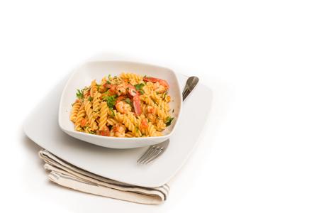 fusilli: Fusilli with shrimps and tomato sauce