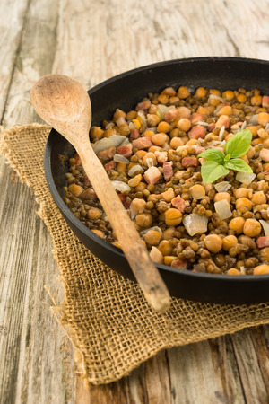 legume: Legume and bacon stew Stock Photo