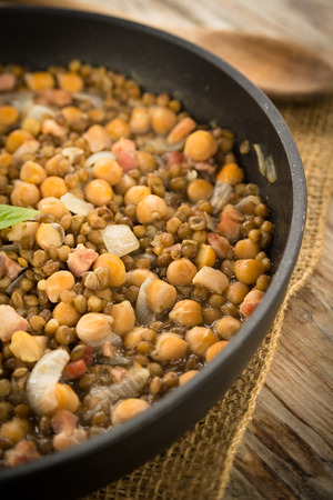 legume: Legume and bacon stew Stock Photo
