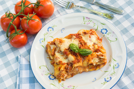 Lasaña, cocina italiana Foto de archivo
