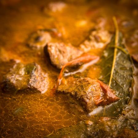 tomato sauce: carne de vacuno con salsa de tomate Foto de archivo