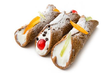 Sicilian Cannoli, Italian Dessert 免版税图像