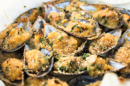 Gratinated mussels Stock Photo