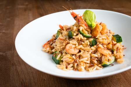 Risotto with shrimps and courgettes