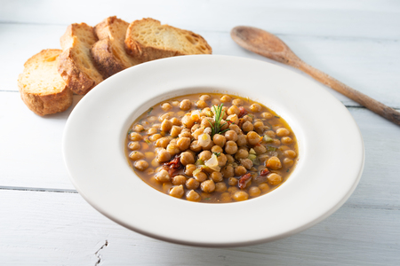 Dish of classic chickpea soup Stock fotó