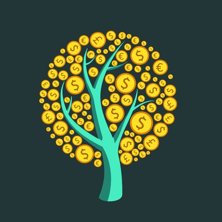 single tree: Money tree vector Illustration