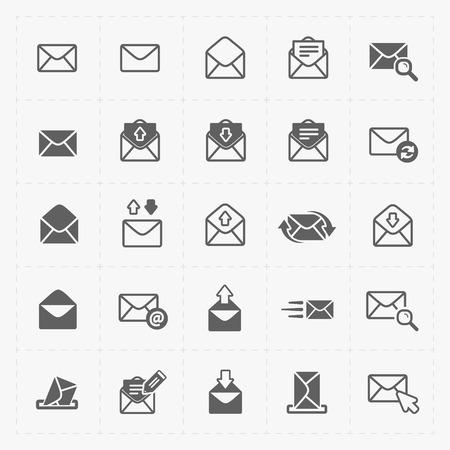 E-mail i koperty ikony na białym tle.