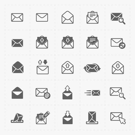 open: Email and envelope icons on White Background.
