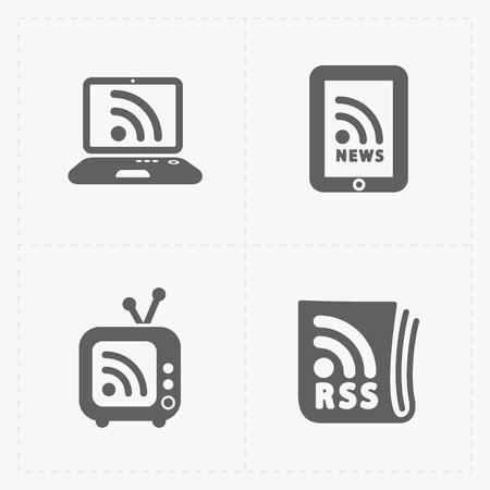rss feed: RSS sign icons. RSS feed symbols on White Background. Illustration