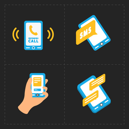 mobil: Vector smart phone icons on Black background Illustration