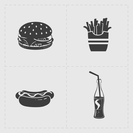 hot dog: Fast Food Black Icon set on White Illustration
