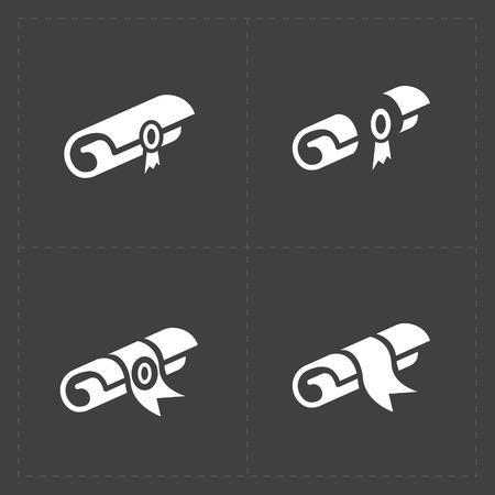 rolled scroll: Scrolls icons with ribbon on Dark Background