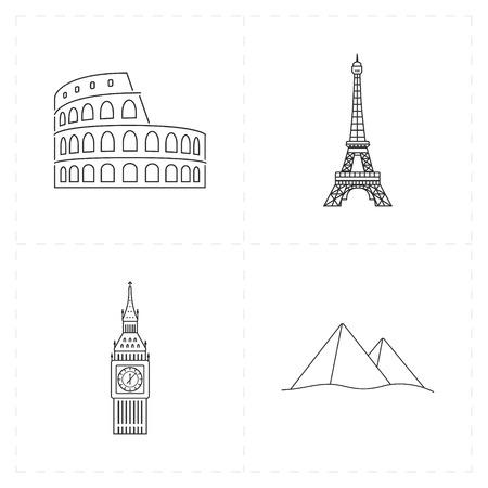 city of westminster: 4 flat landmark icons Illustration