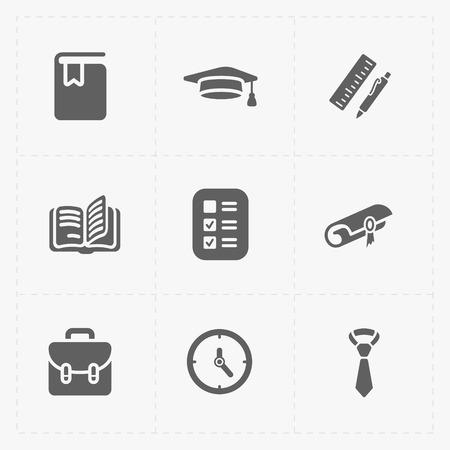 book bag: Modern  flat social icons set on White