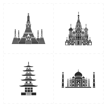 wat arun: 4 flat landmark icons Illustration
