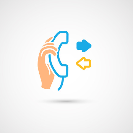 hang up: Phone colorful icon - Hand with handset, vector illustration.