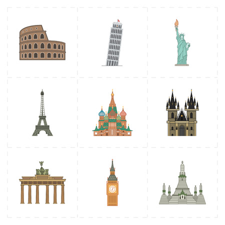 9 vlakke pictogrammen van herkenningspunten Stock Illustratie