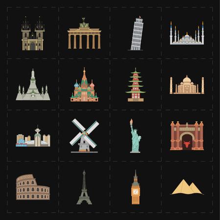 sights of moscow: 16 flat landmark icons Illustration
