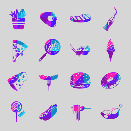 Vector food colorful  icon set