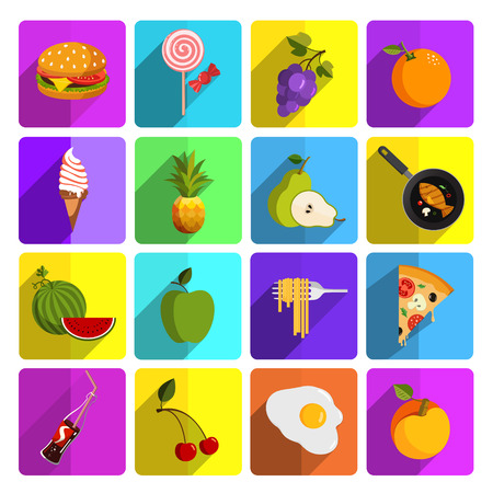 Modern food and vegetables vector icon set