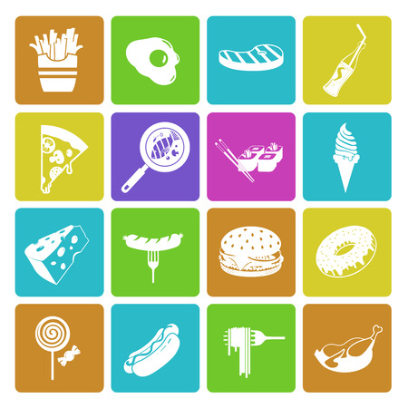 food and beverages: Colorful fast food icon set Illustration