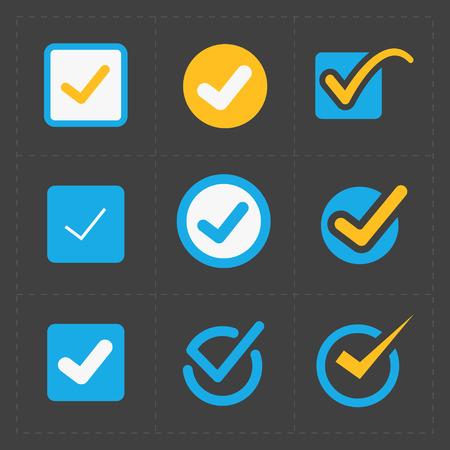 garrapata: Vector iconos colorido confirman establecen Vectores