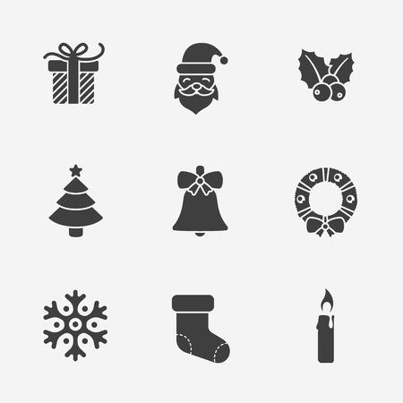 Kerst silhouet iconen collectie
