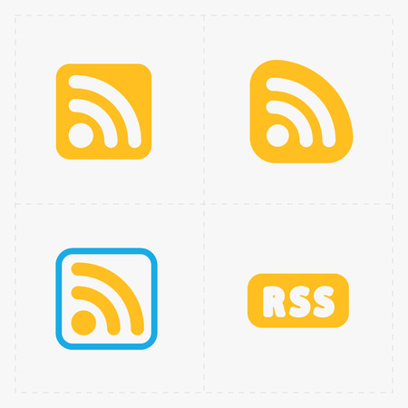 rss sign: RSS sign icons. RSS feed symbols on White Background. Illustration