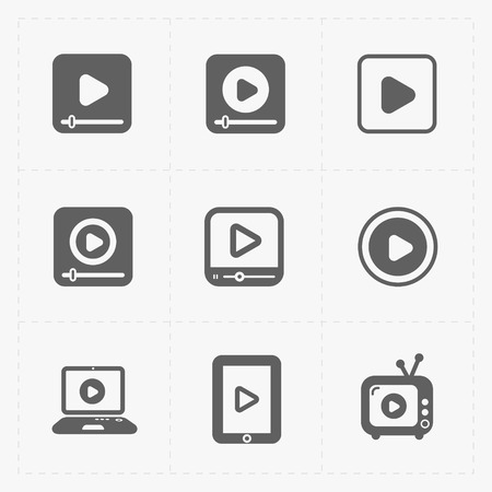 windows media video: Modern vector flat video player icons.