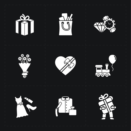 shaver: Gift flat contour shop icon set on black Illustration