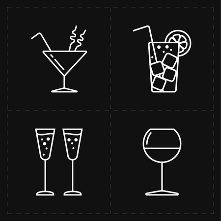 restaurant bar: This is a vector illustration of 4 modern flat bar icons
