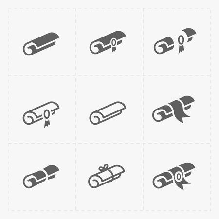 Scrolls pictogrammen met lint op wit