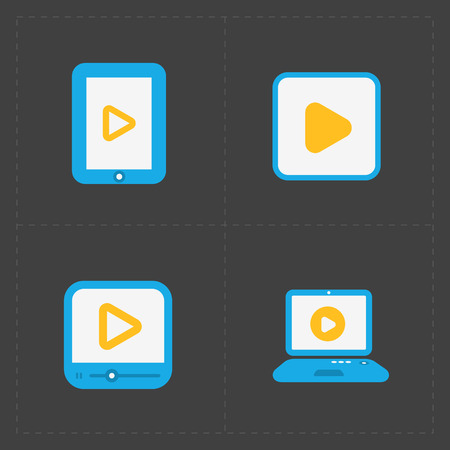video player: Flat video player icons on dark background.
