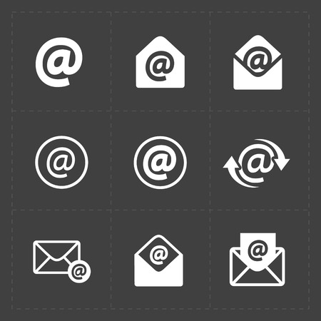 envelope: Vector E-mail icons on Dark Background.