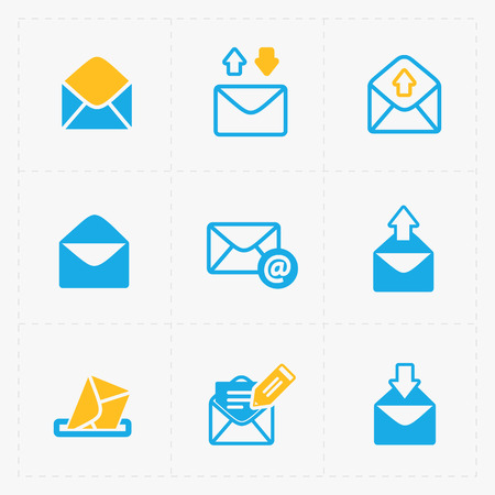 incoming: Email and envelope icons on White Background.