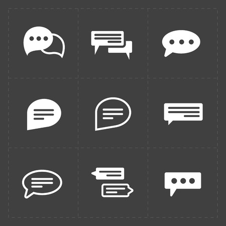 illus: New Modern Speech bubble icons on black background. Vector illus Illustration
