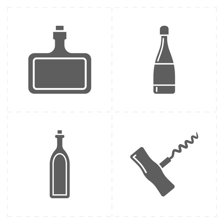 drunk party: 4 modern flat bar icons