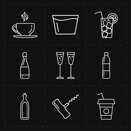 9 modern flat bar icons Ilustração