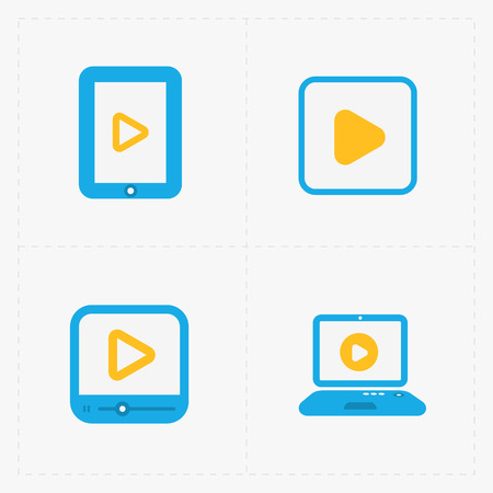 video player: Modern vector colorfull  flat video player icons.