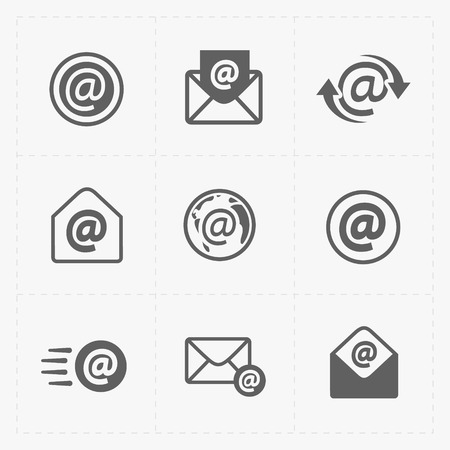 Vector E-mail icons on White Background.  イラスト・ベクター素材