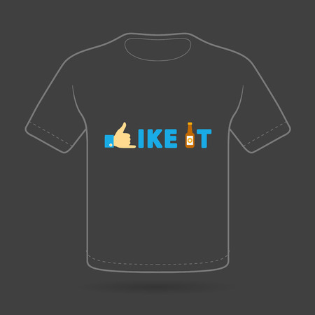 T-shirt with funny print on black background. Vector  print. Ilustrace